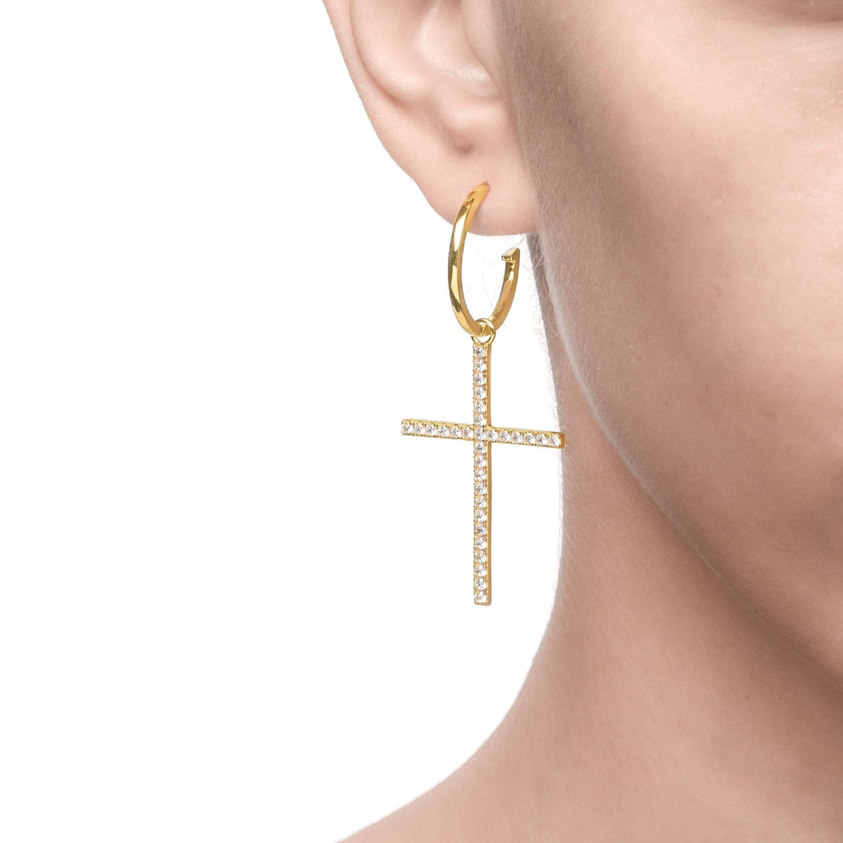 Fortuna | Grosseto Earrings | 925 Silver | White CZ | 18K Gold Plated