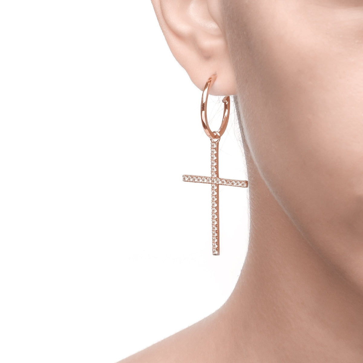 Fortuna | Grosseto Earrings | 925 Silver | White CZ | Rose Gold Plated
