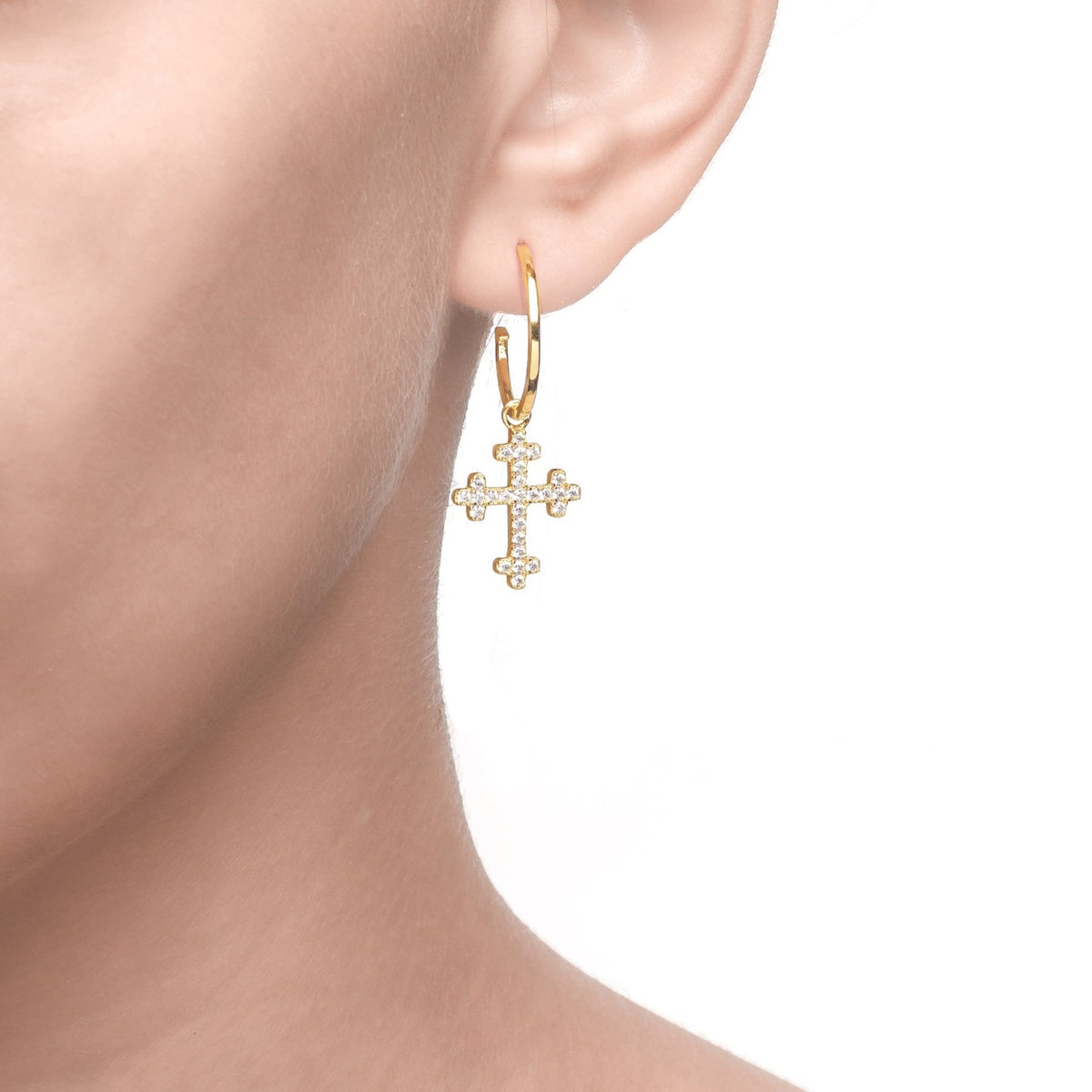 Fortuna | Brindisi Earrings | 925 Silver | White CZ | 18K Gold Plated