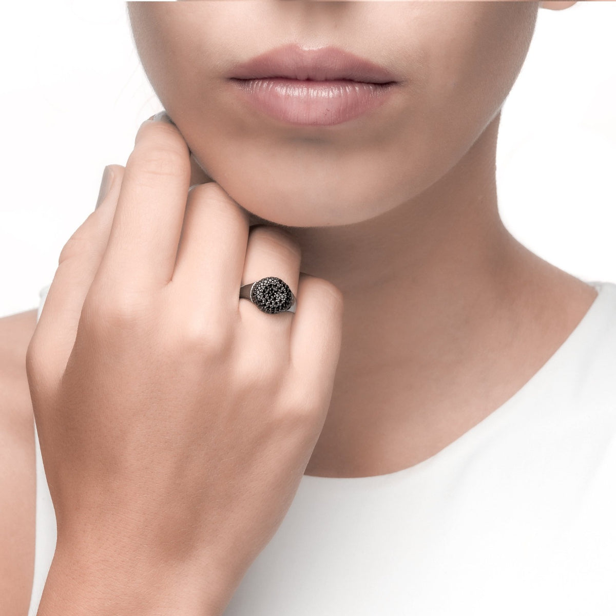 Fortuna | Monte Castello Ring | 925 Silver | Black CZ | Black Rhodium Plated