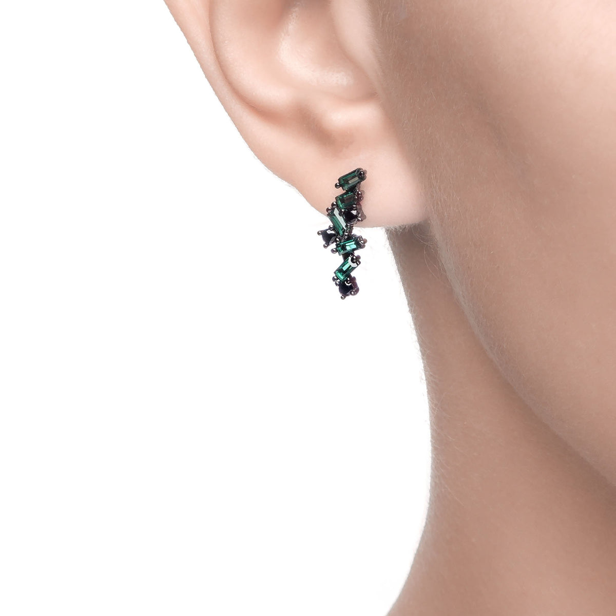 Ferentina | Zabaione Earrings | 925 Silver | Green & Black CZ | Black Rhodium Plated