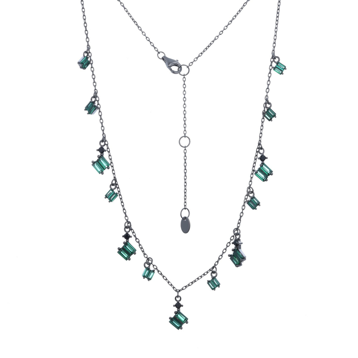 Ferentina | Zabaione Necklace | 925 Silver | Green & White CZ | Black Rhodium Plated
