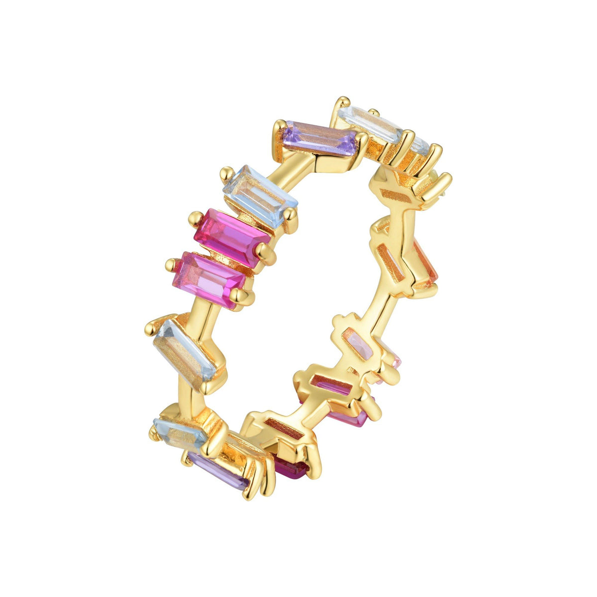 Ferentina | Pavlova Ring | 925 Silver | Multicolor CZ | 18K Gold Plated