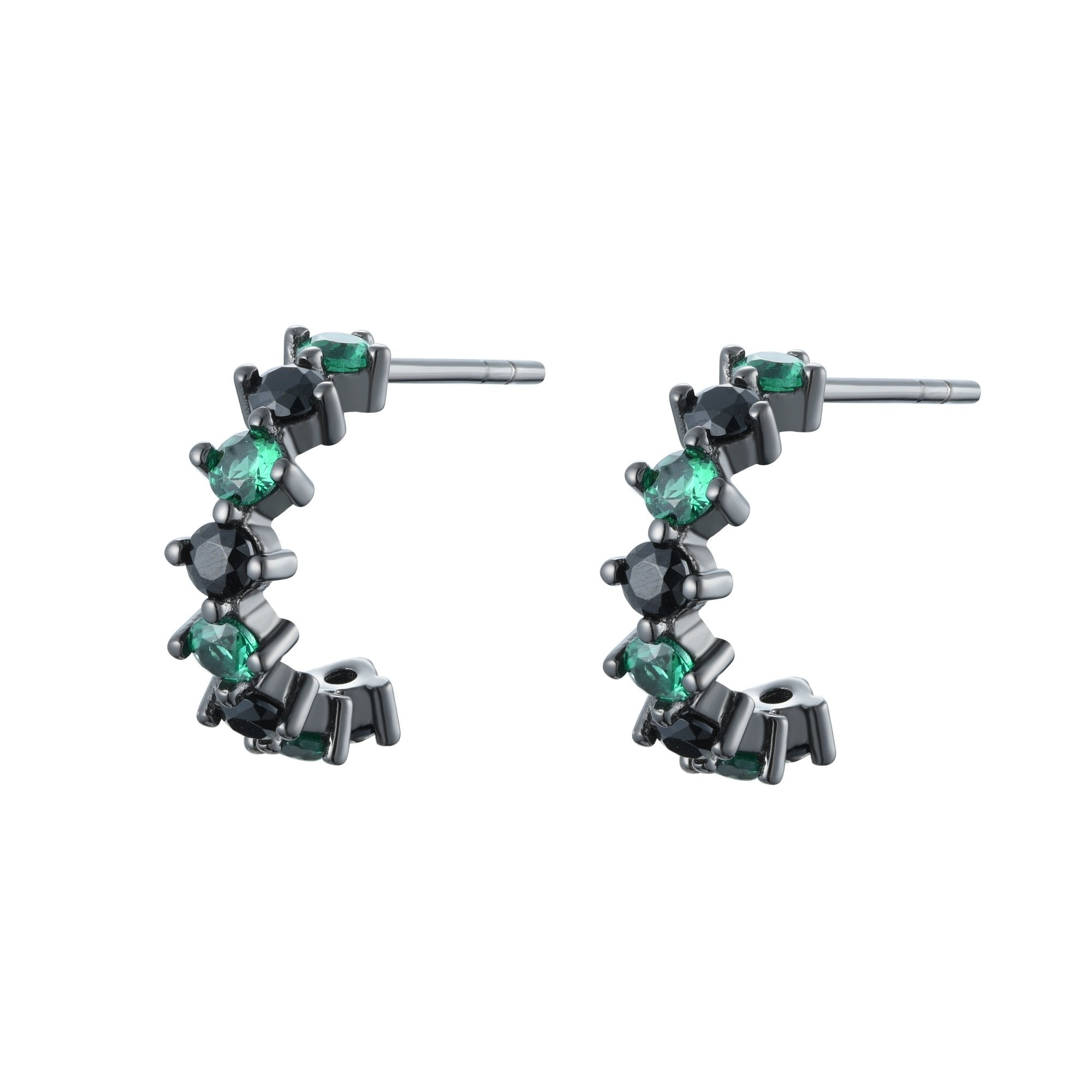 Ferentina | Tiramisu Earrings | 925 Silver | Green & Black CZ | Black Rhodium Plated