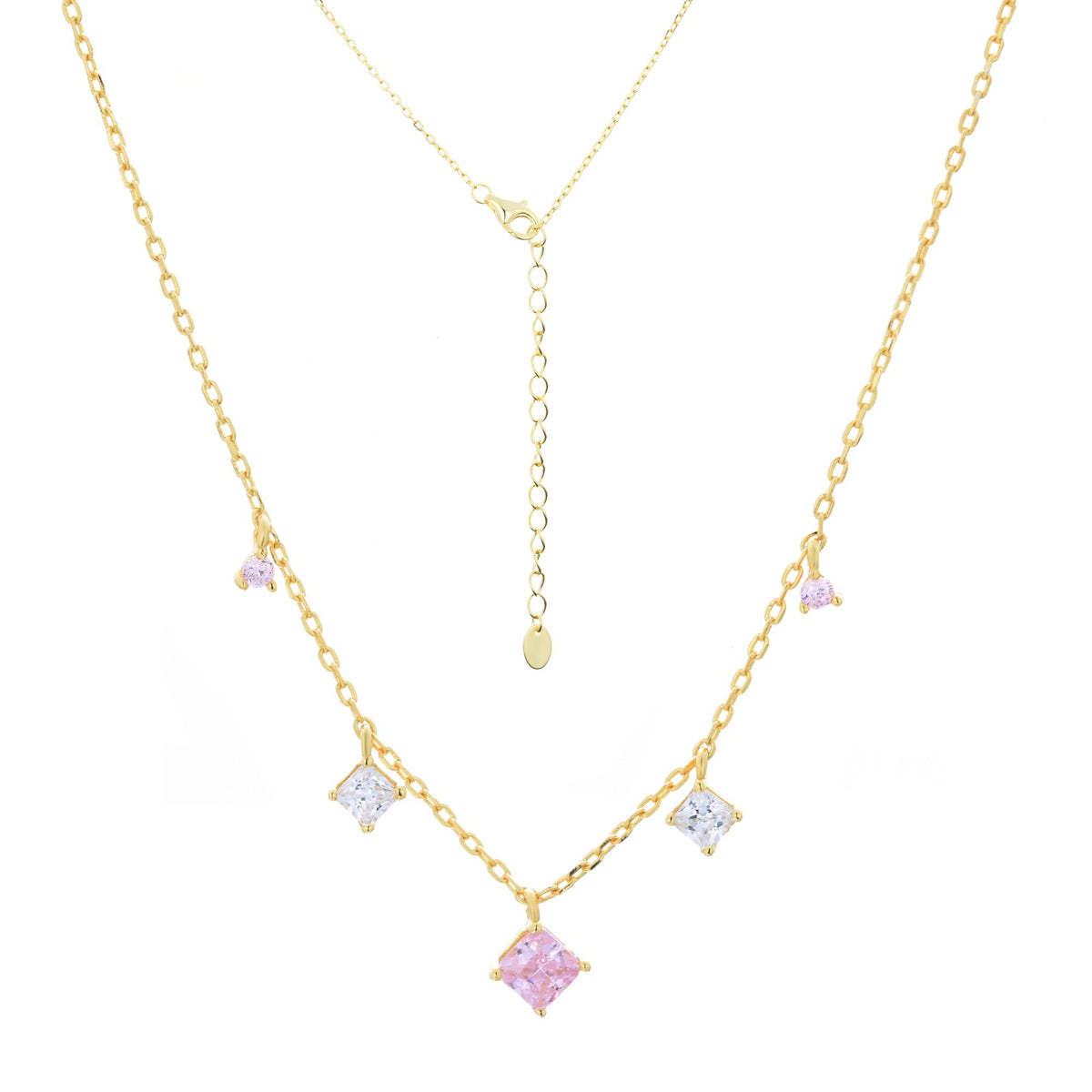 Ferentina | Cupcake Necklace | 925 Silver | White & Pink CZ | 18K Gold Plated