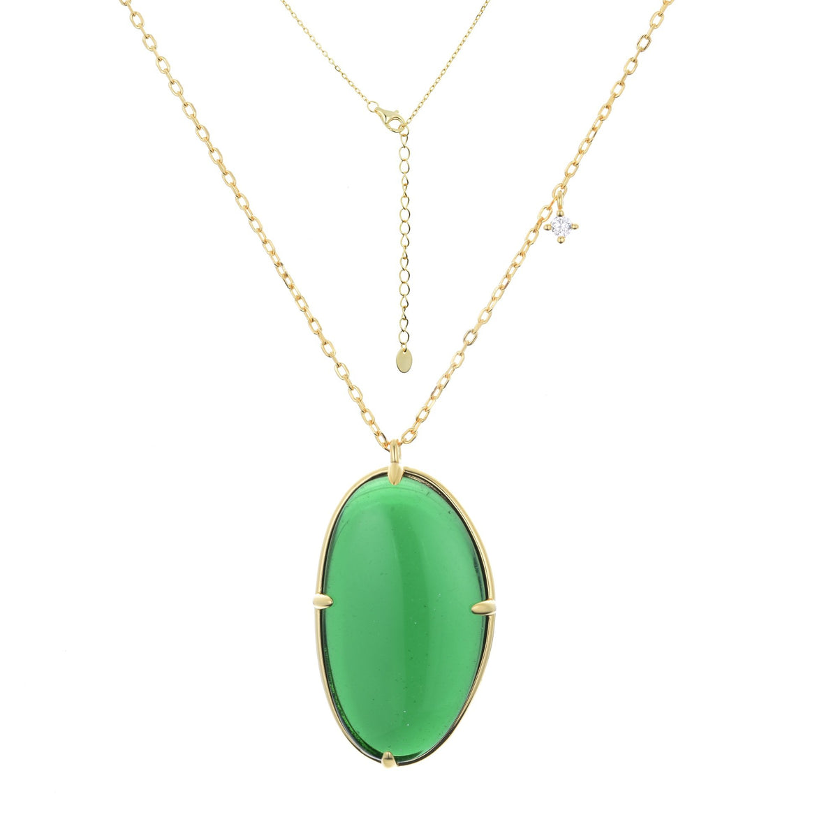 Ferentina | Doughnut Necklace | 925 Silver | White & Green CZ | 18K Gold Plated