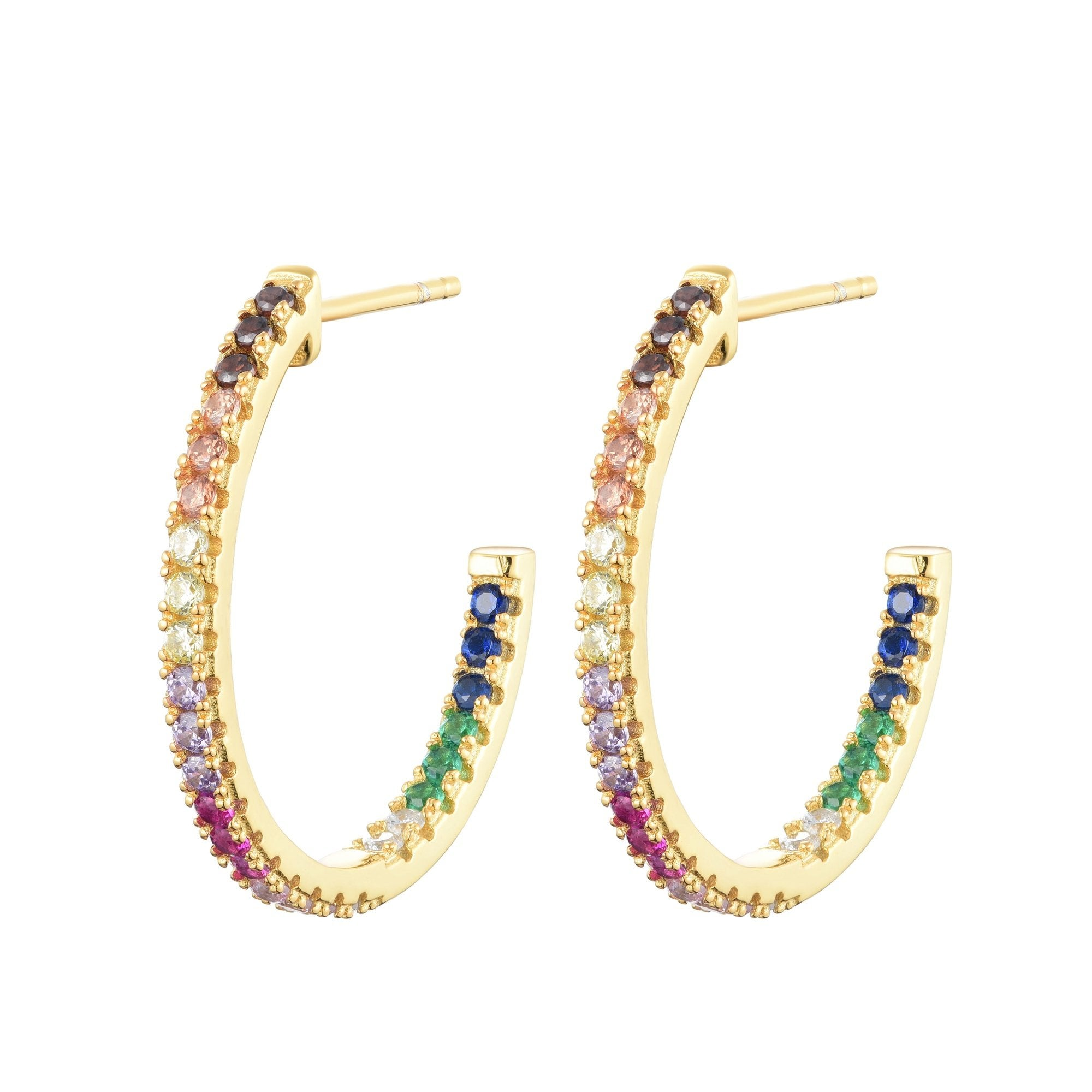 Ferentina | Macaron Hoops | 925 Silver | Multicolor CZ | 18K Gold Plated