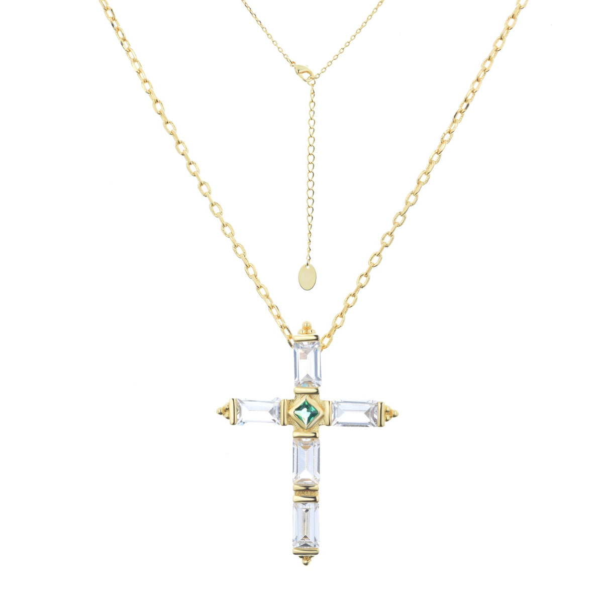 Ferentina | Cross Necklace | 925 Silver | White & Green CZ | 18K Gold Plated