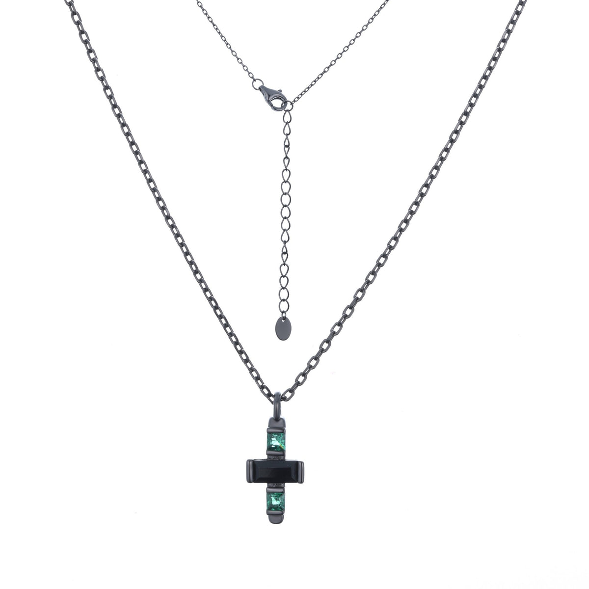 Ferentina | Banoffee Necklace | 925 Silver | Black & Green CZ | Black Rhodium Plated
