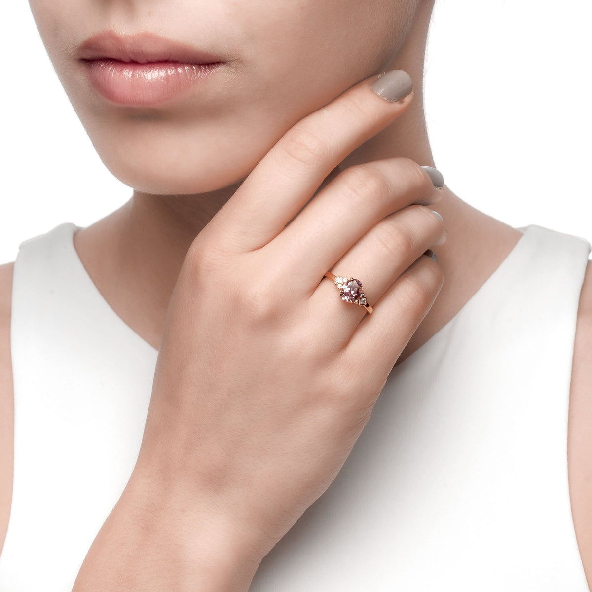 Ferentina | Gelato Ring | 925 Silver | White & Smokey CZ | 18K Gold Plated