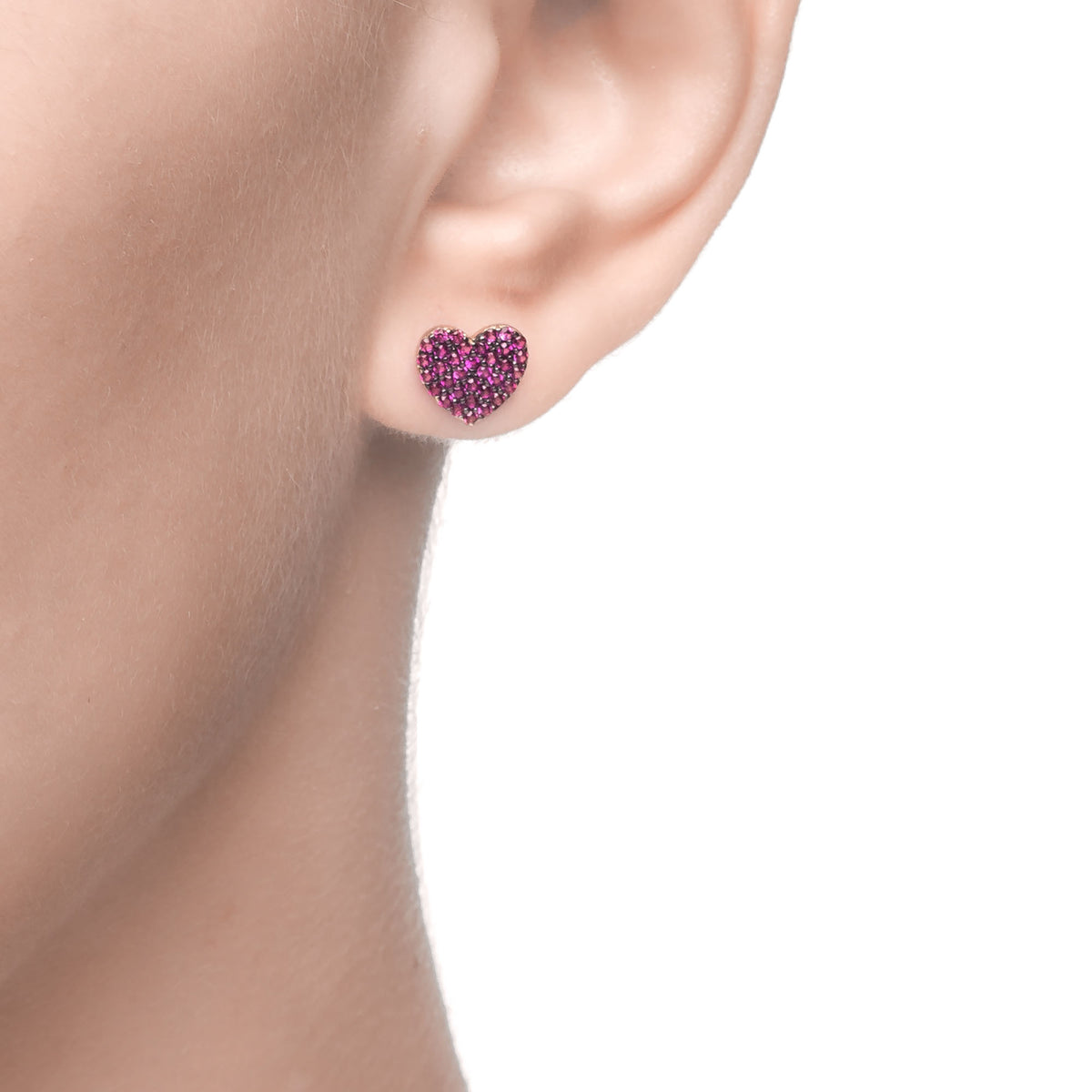 Ferentina | Angel Cake Earrings | 925 Silver | Ruby CZ | 18K Gold Plated