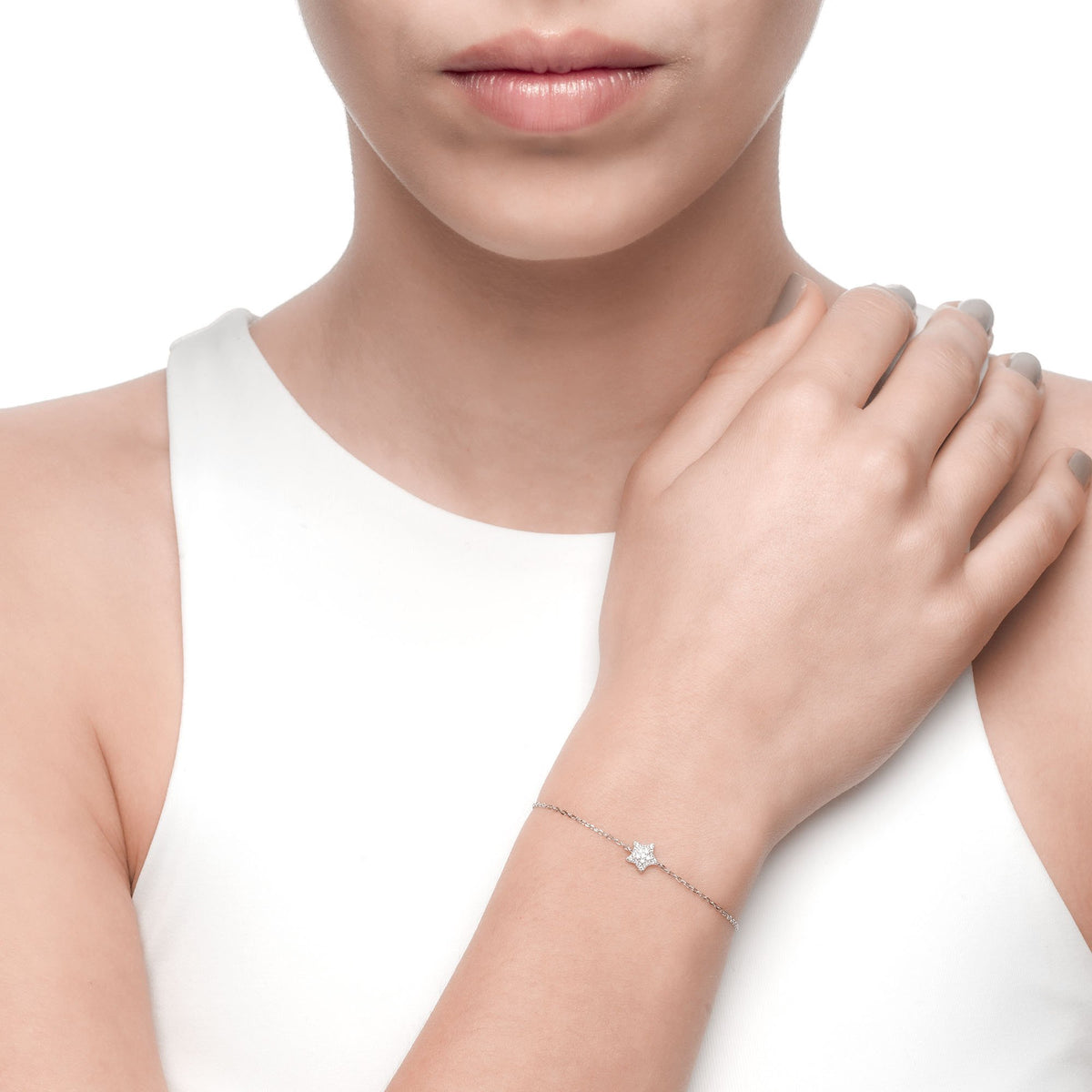 Ferentina | Marshmallow Bracelet | 925 Silver | White CZ | Rhodium Plated