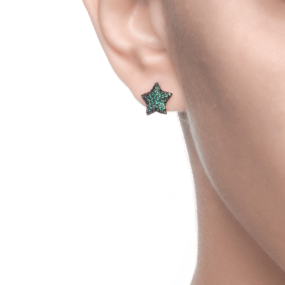 Ferentina | Marshmallow Earrings | 925 Silver | Green CZ | Black Rhodium & 18K Gold Plated