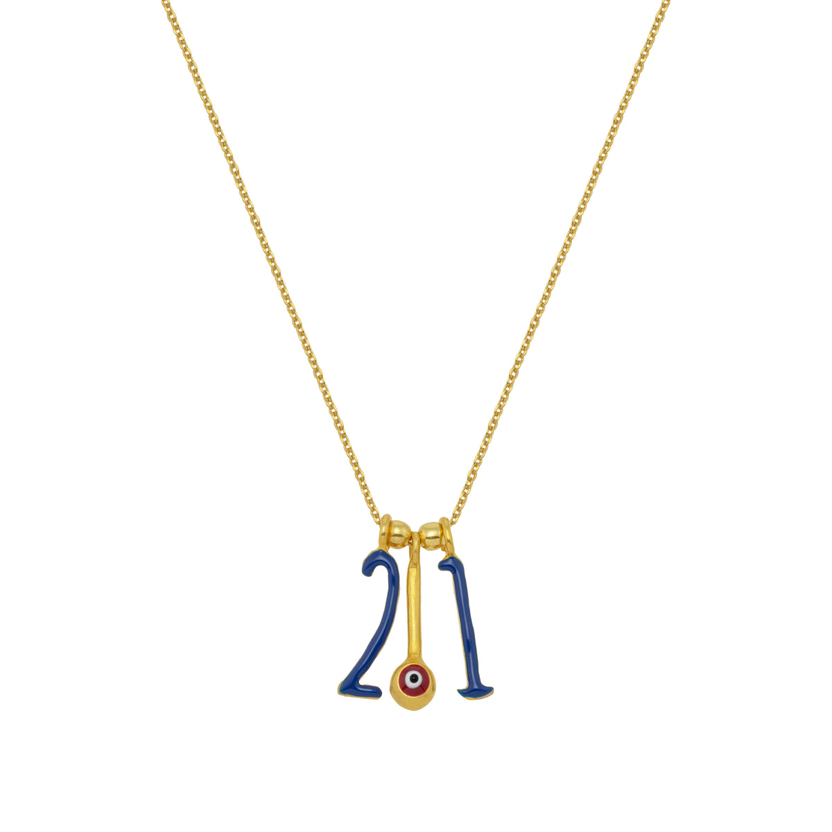 CHARMS: 2021 | Blue Enamel | 18K Gold Plated Silver