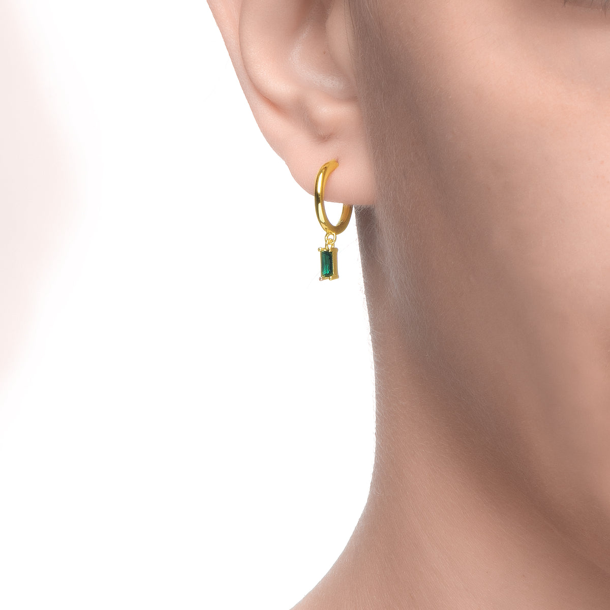 Ferentina | Lemon Pie Earrings | Green CZ | 18K Gold Plated 925 Silver
