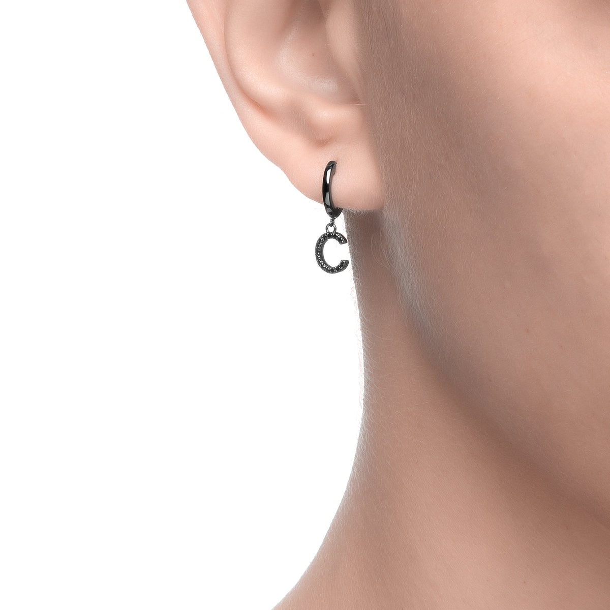 Magna | C Letter Single Earring | Black CZ | Black Rhodium Plated 925 Silver