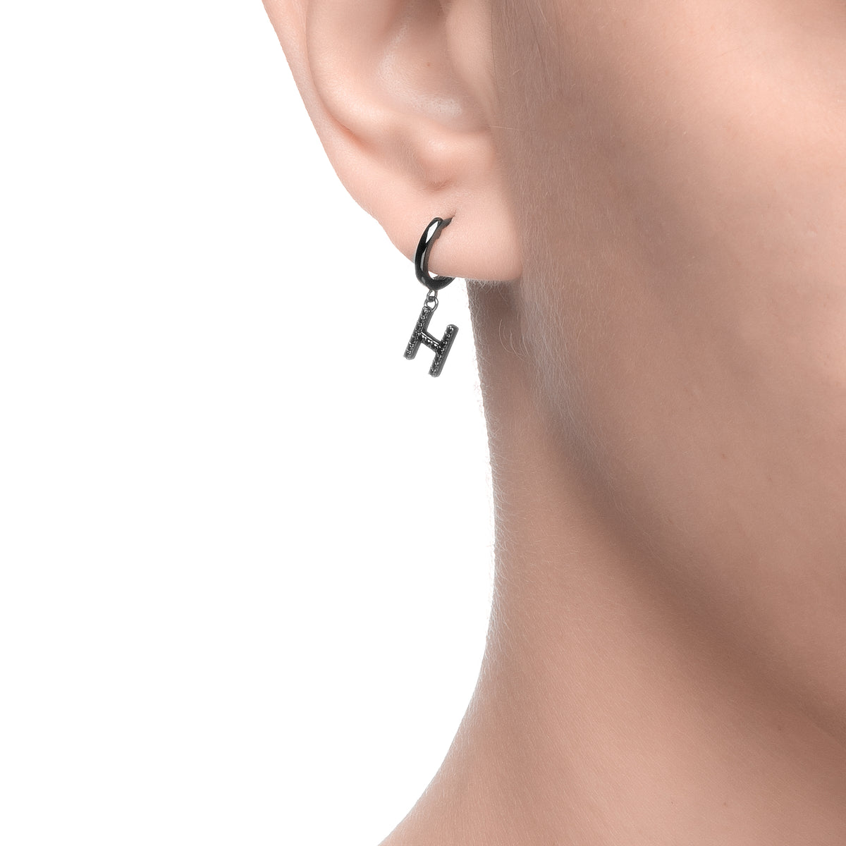 Magna | H Letter Single Earring | Black CZ | Black Rhodium Plated 925 Silver