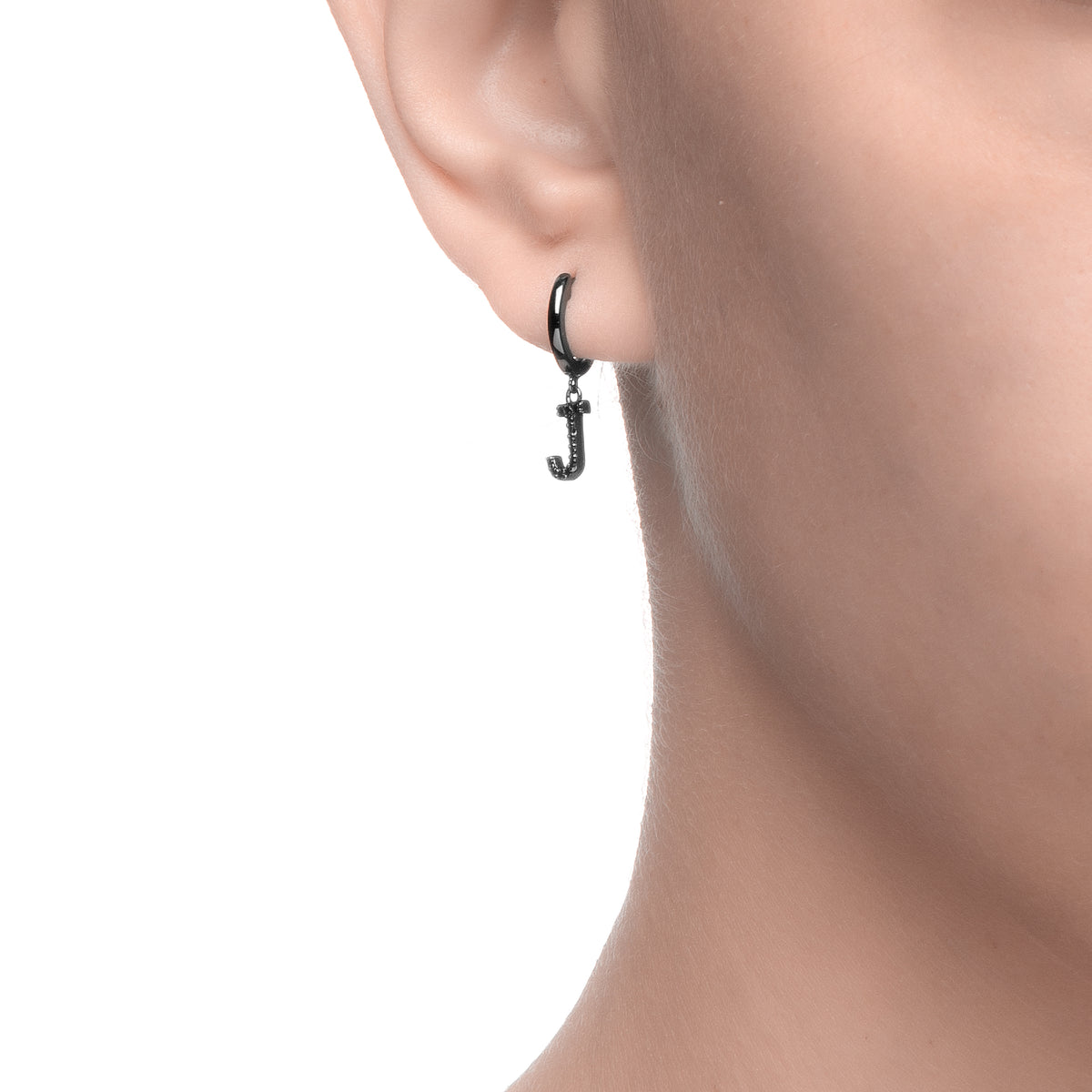 Magna | J Letter Single Earring | Black CZ | Black Rhodium Plated 925 Silver