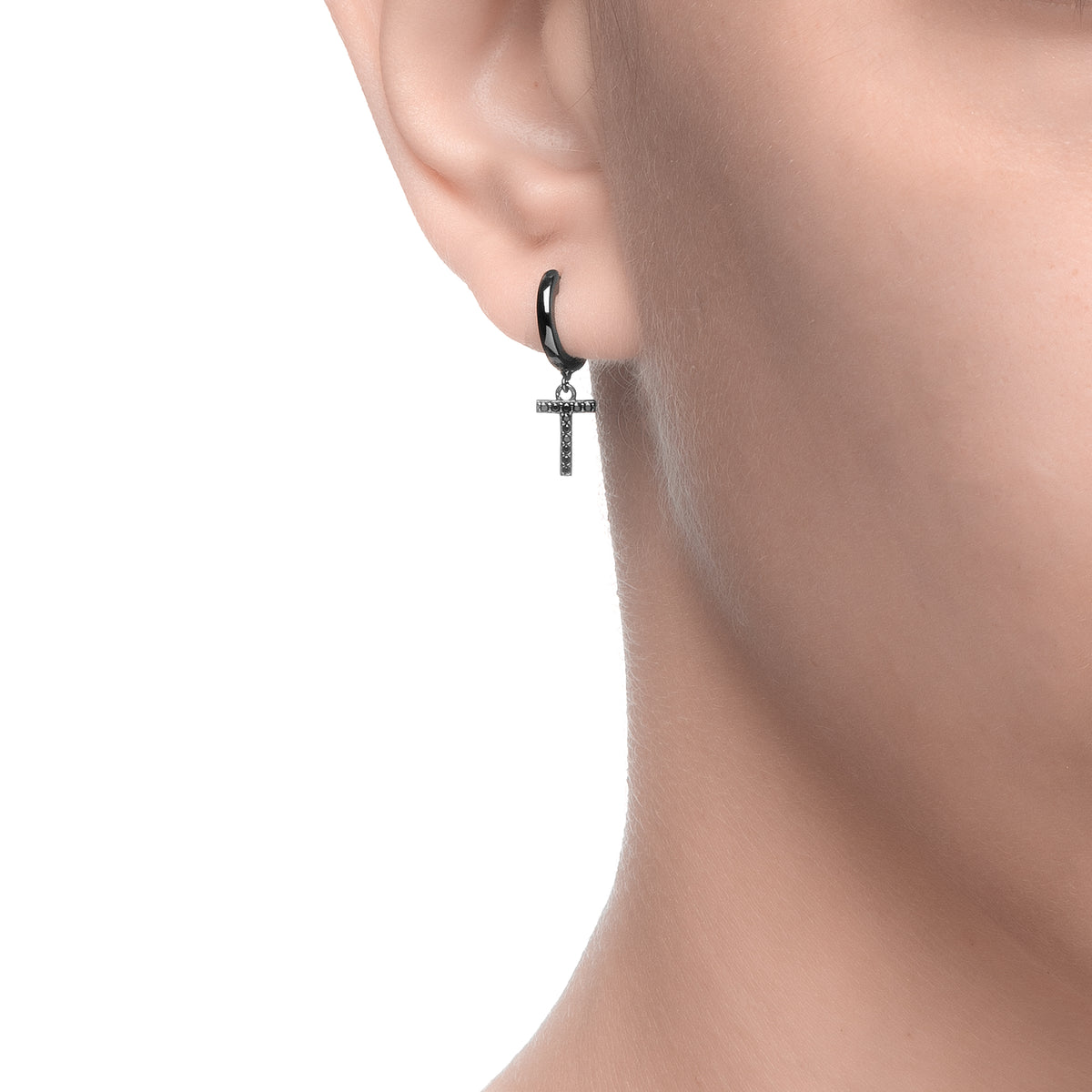 Magna | T Letter Single Earring | Black CZ | Black Rhodium Plated 925 Silver
