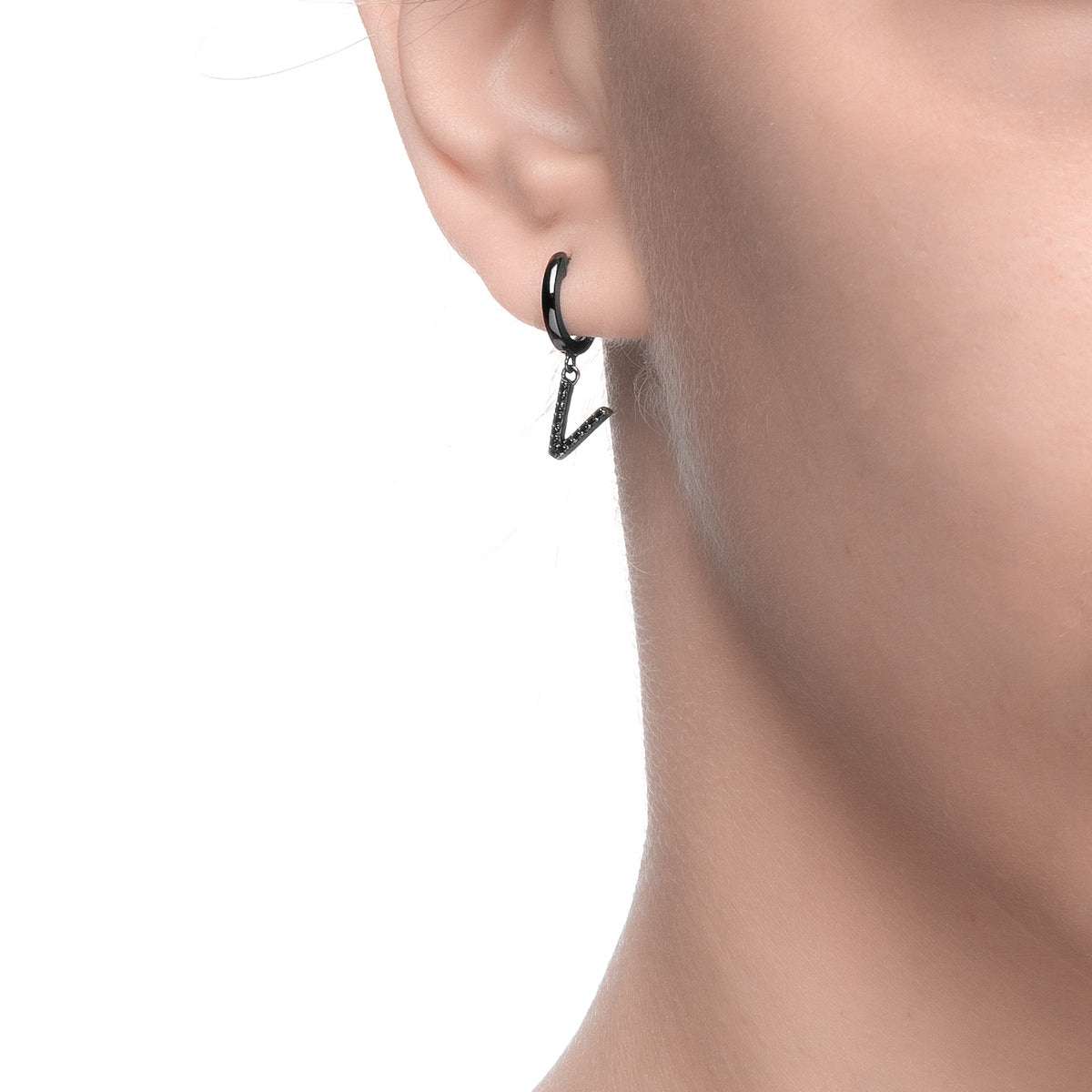 Magna | V Letter Single Earring | Black CZ | Black Rhodium Plated 925 Silver