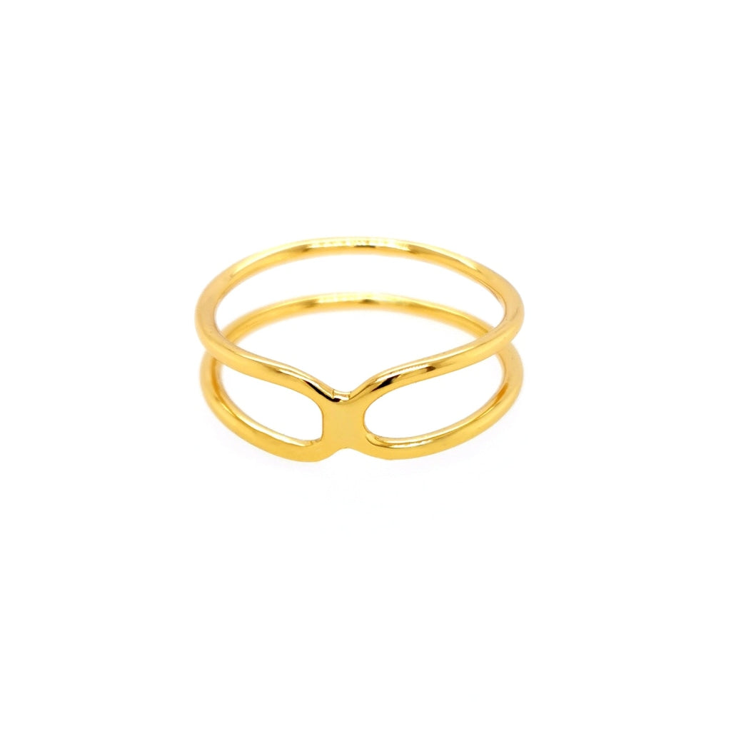 Deverra - Double Bend Ring - Gold Plated Silver - Spirito Rosa | Βραβευμένα Κοσμήματα σε Απίστευτες Τιμές
