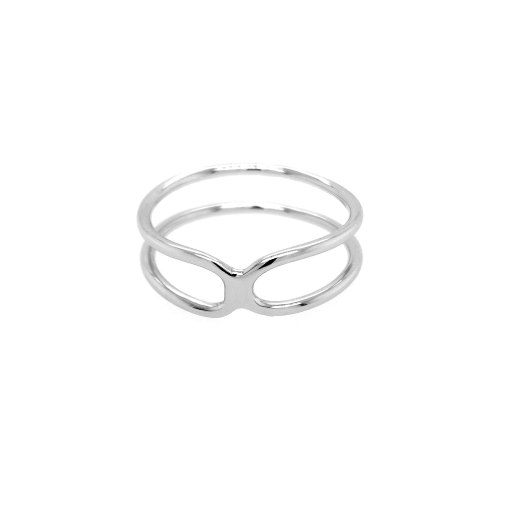 Deverra - Double Bend Ring - White Rhodium Plated Silver - Spirito Rosa | Βραβευμένα Κοσμήματα σε Απίστευτες Τιμές