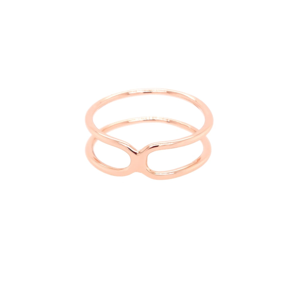 Deverra - Double Bend Ring - Rose Gold Plated Silver - Spirito Rosa | Βραβευμένα Κοσμήματα σε Απίστευτες Τιμές
