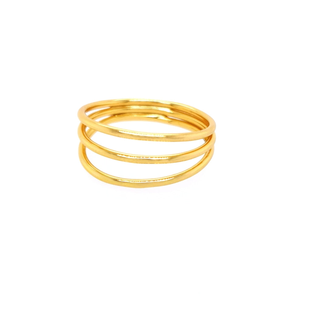 Deverra - Three Rod Ring - Gold Plated Silver - Spirito Rosa | Βραβευμένα Κοσμήματα σε Απίστευτες Τιμές