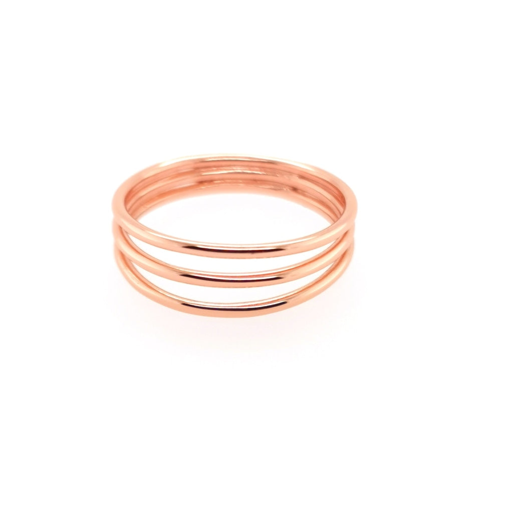 Deverra - Three Rod Ring Rose Gold Plated Silver