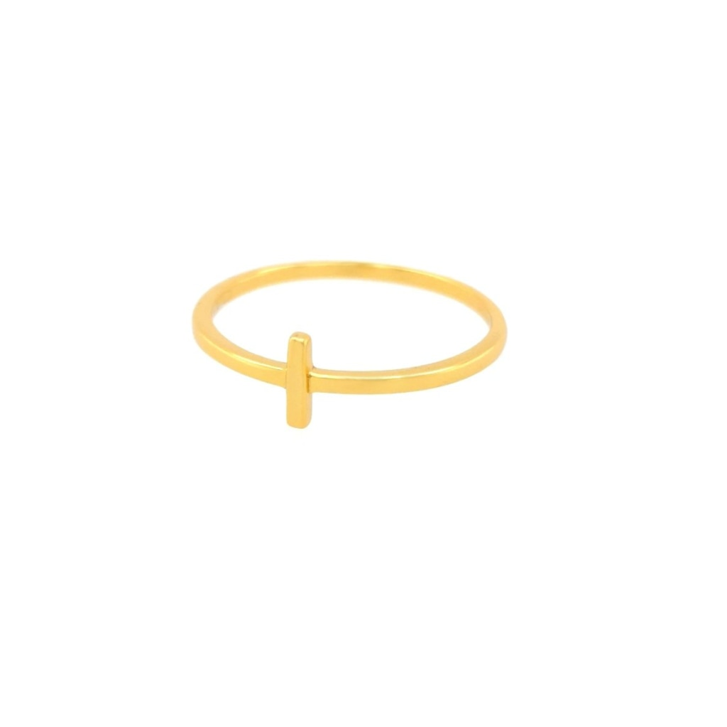 Deverra - Small Bar Ring - Gold Plated Silver - Spirito Rosa | Βραβευμένα Κοσμήματα σε Απίστευτες Τιμές
