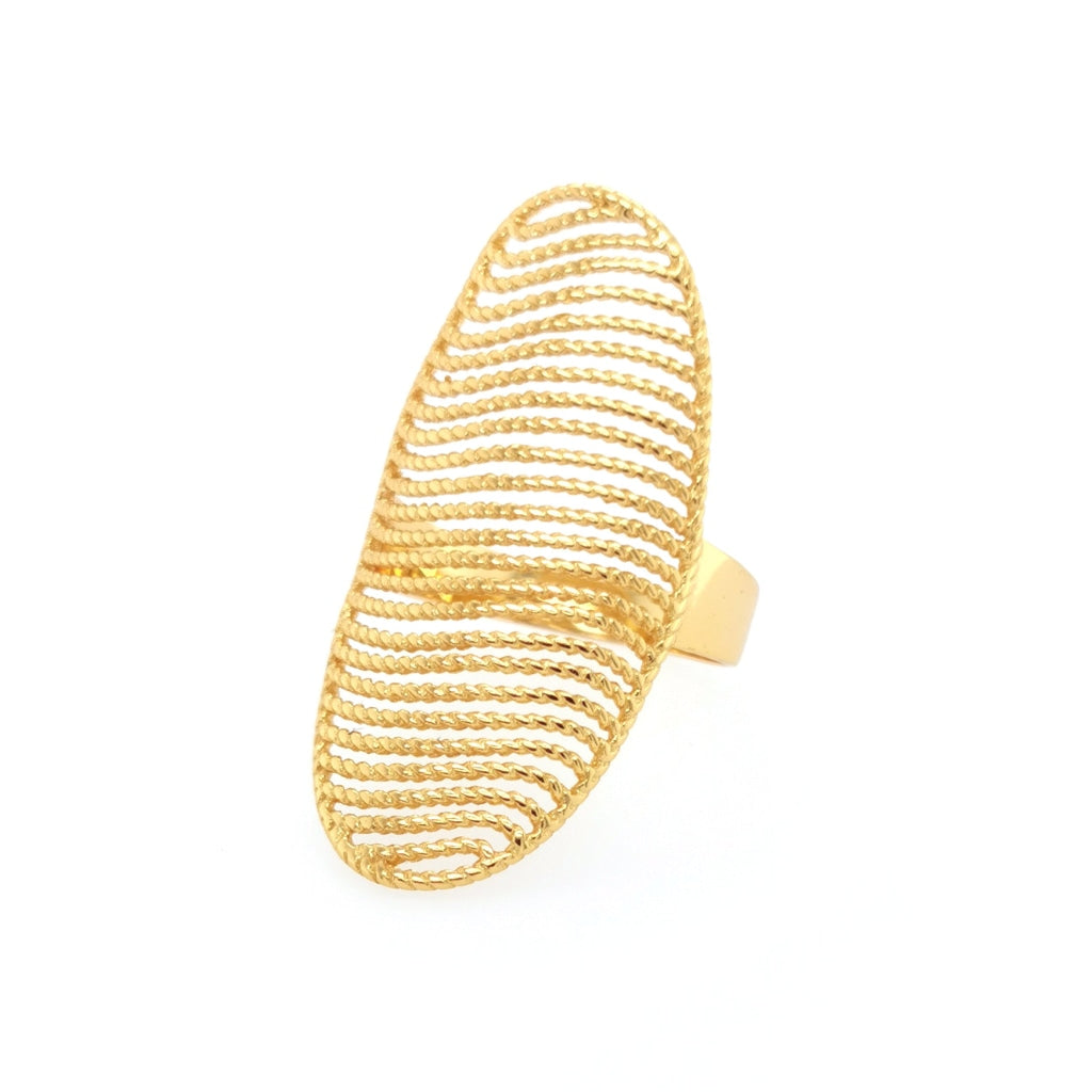 Deverra - Sculptured Sphere Ring Gold Plated