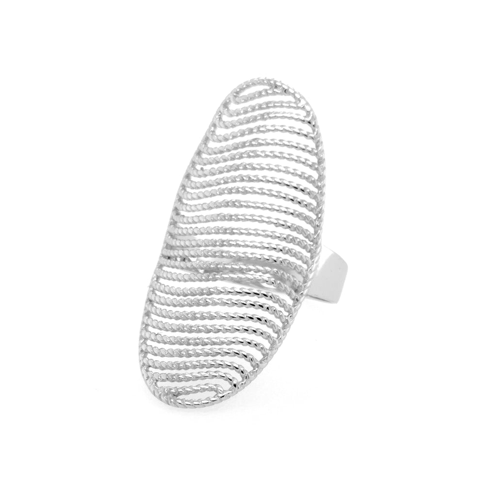 Deverra - Sculptured Sphere Ring White Rhodium Plated
