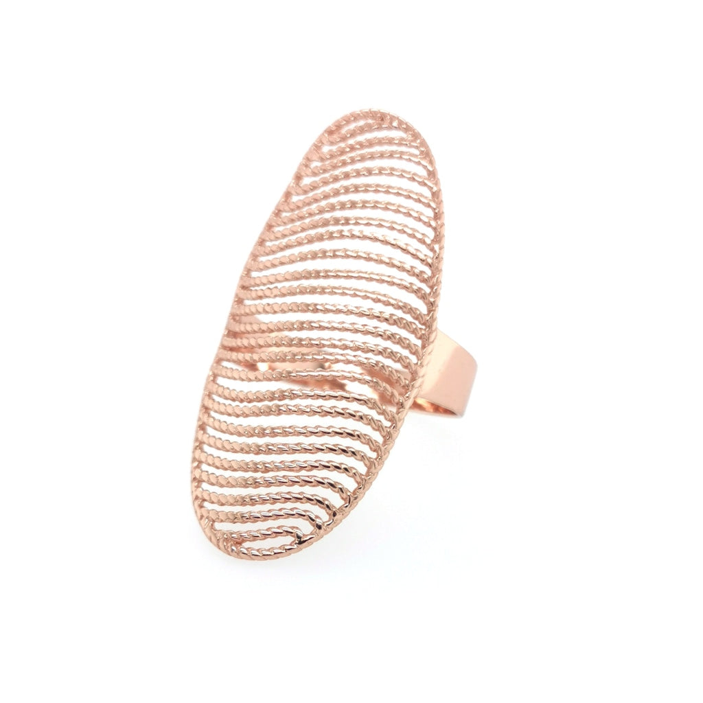 Deverra - Sculptured Sphere Ring - Rose Gold Plated - Spirito Rosa | Βραβευμένα Κοσμήματα σε Απίστευτες Τιμές