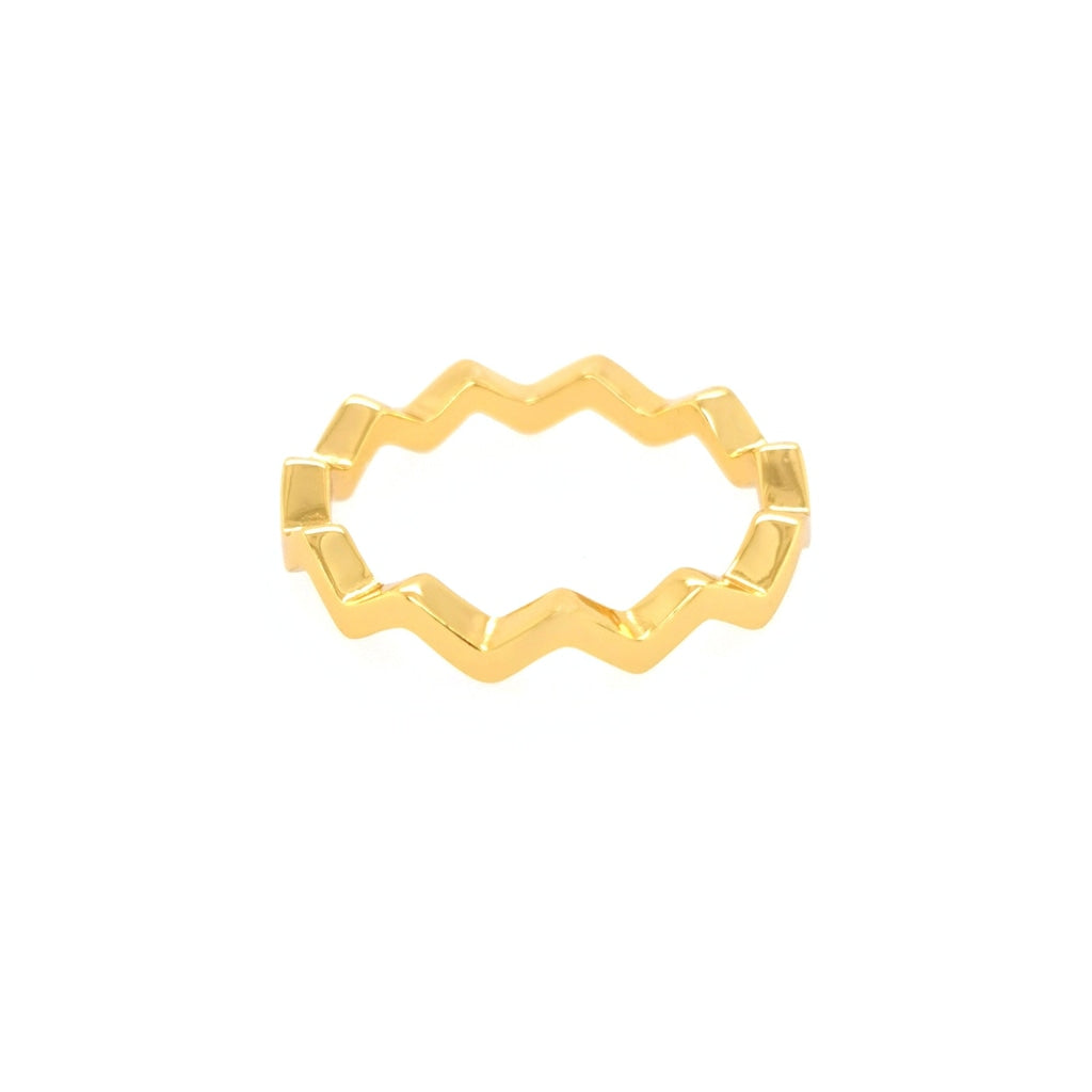Deverra - Zic Zac Ring - Gold Plated Silver - Spirito Rosa | Βραβευμένα Κοσμήματα σε Απίστευτες Τιμές