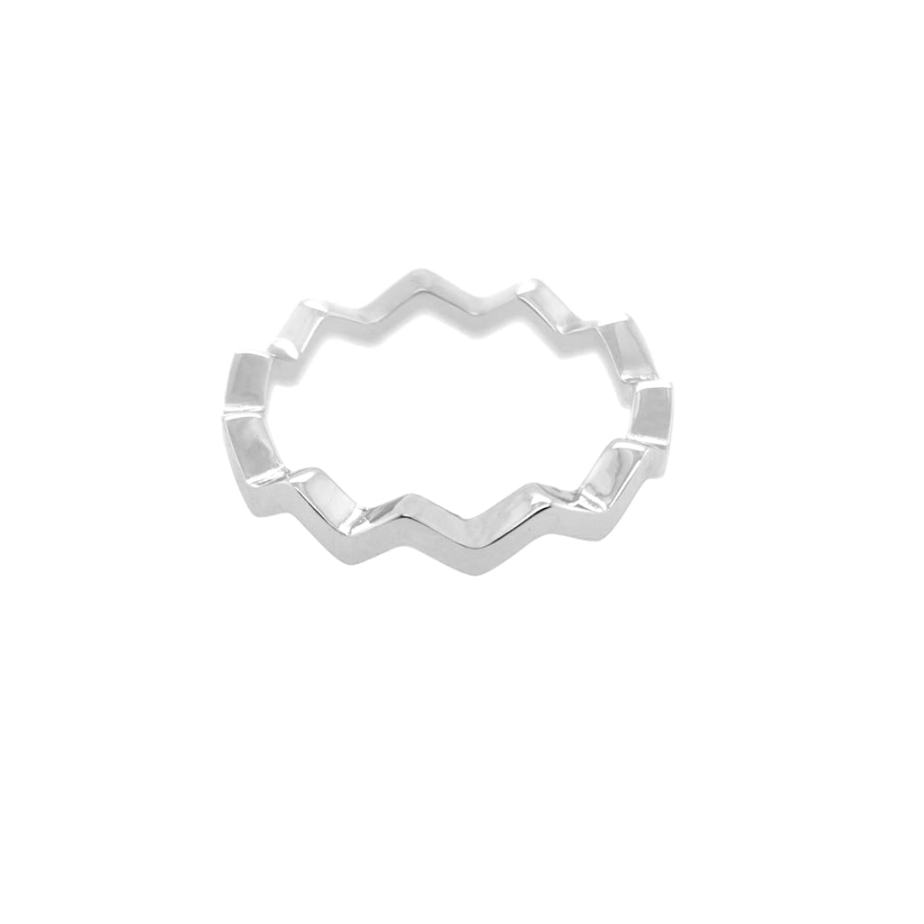 Deverra - Zic Zac Ring White Rhodium Plated Silver