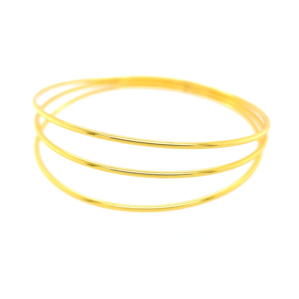 Deverra - Three Bar Bangle Gold Plated Silver Bracelet