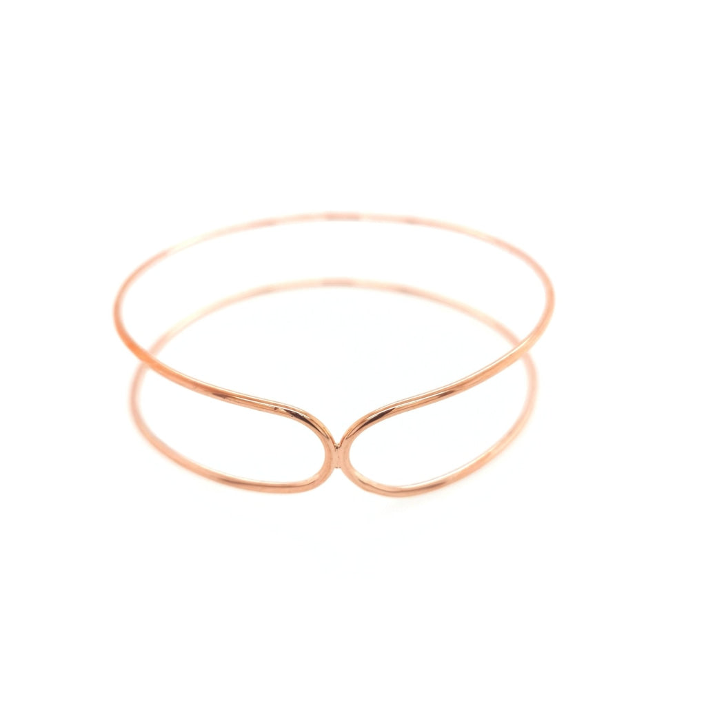 Deverra - Double Bend Bangle Rose Gold Plated Silver Bracelet
