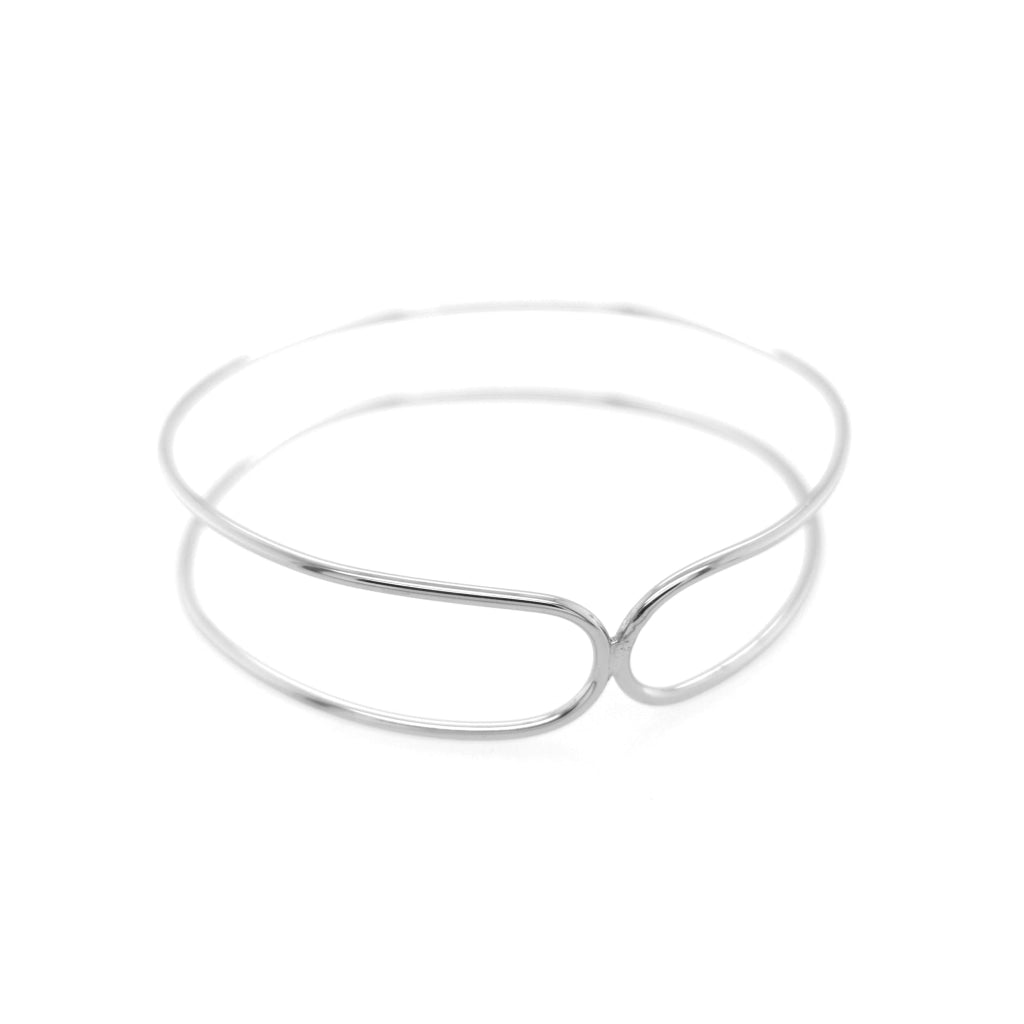 Deverra - Double Bend Bangle - White Rhodium Plated Silver - Spirito Rosa | Βραβευμένα Κοσμήματα σε Απίστευτες Τιμές