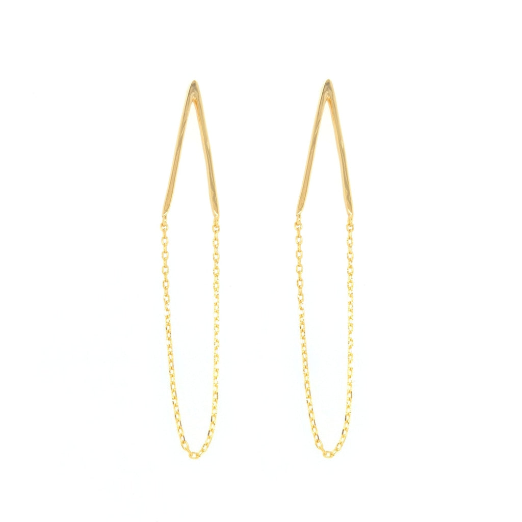 Deverra - V Drop Earrings Gold Plated Silver Earring