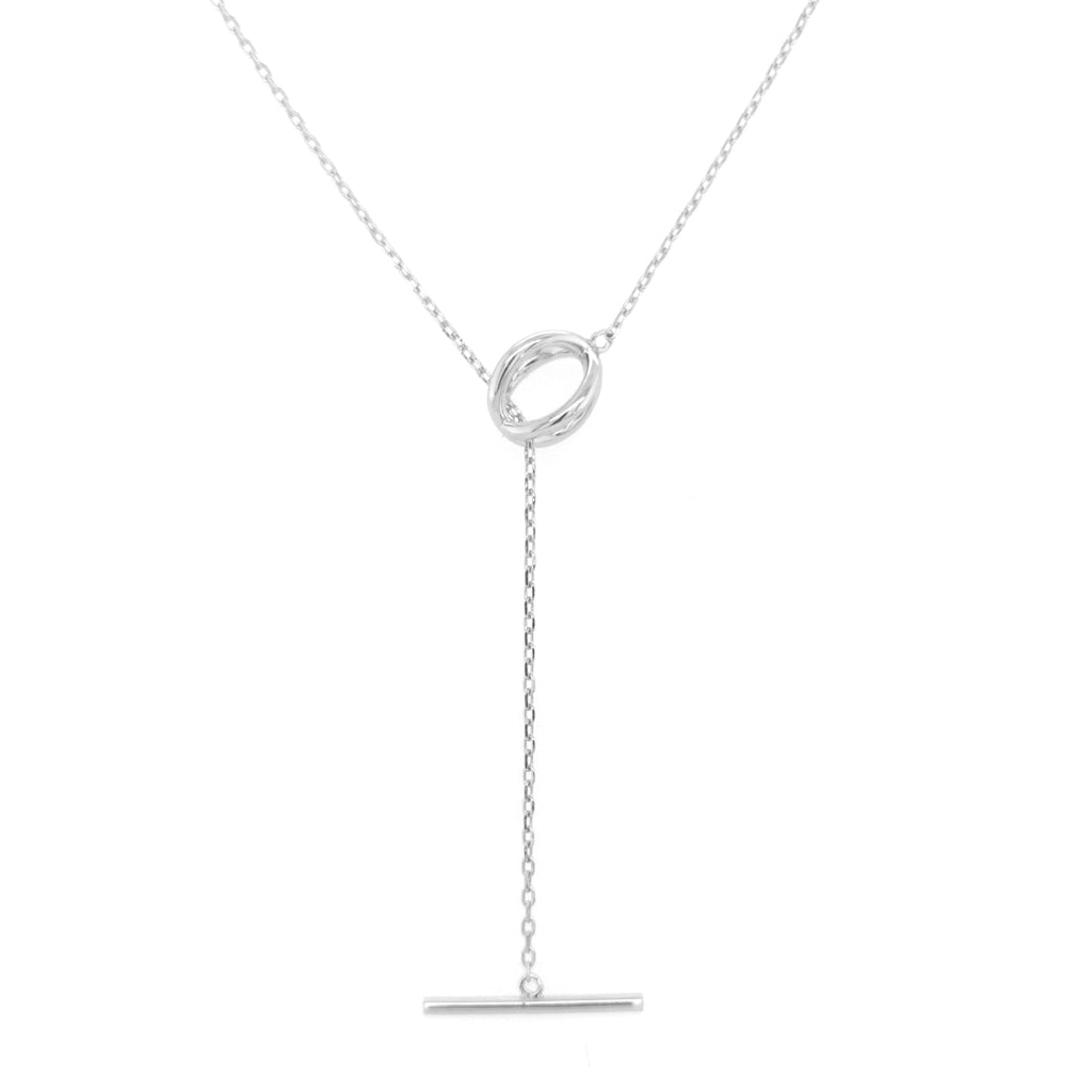 Deverra - Circle To Horizontal Bar Necklace White Rhodium Plated Silver