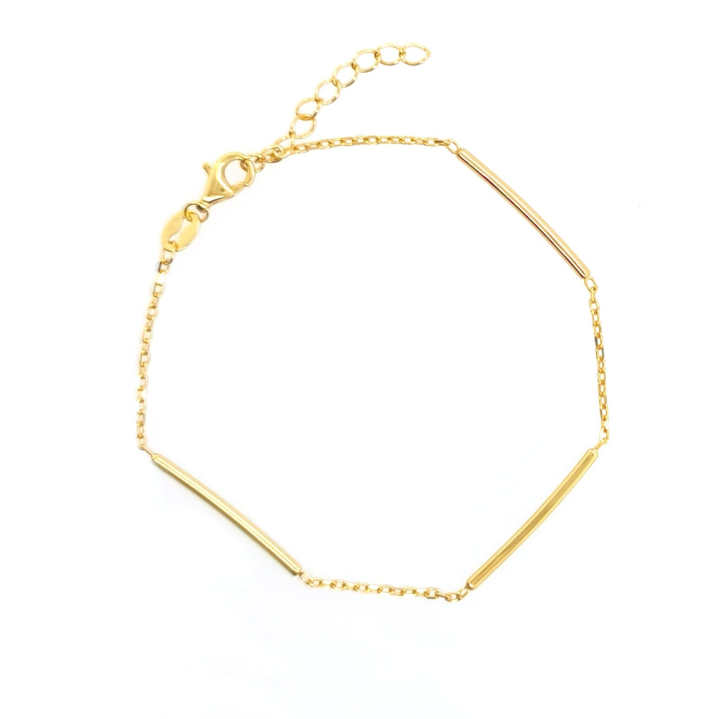 Deverra - Three Bar Bracelet Gold Plated Silver