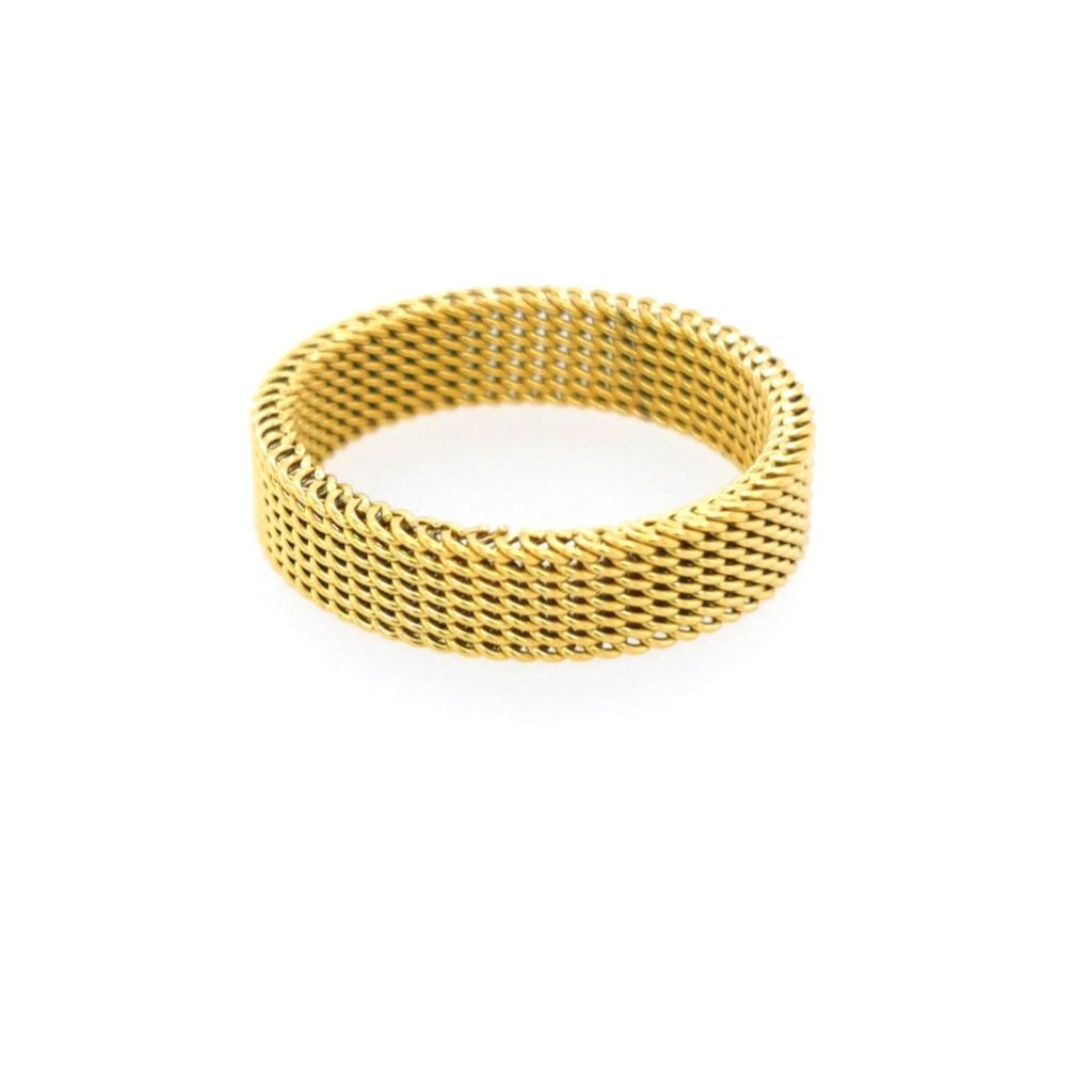 Decima - Wide Detailed Ring Stainless Steel Ion Gold Plating