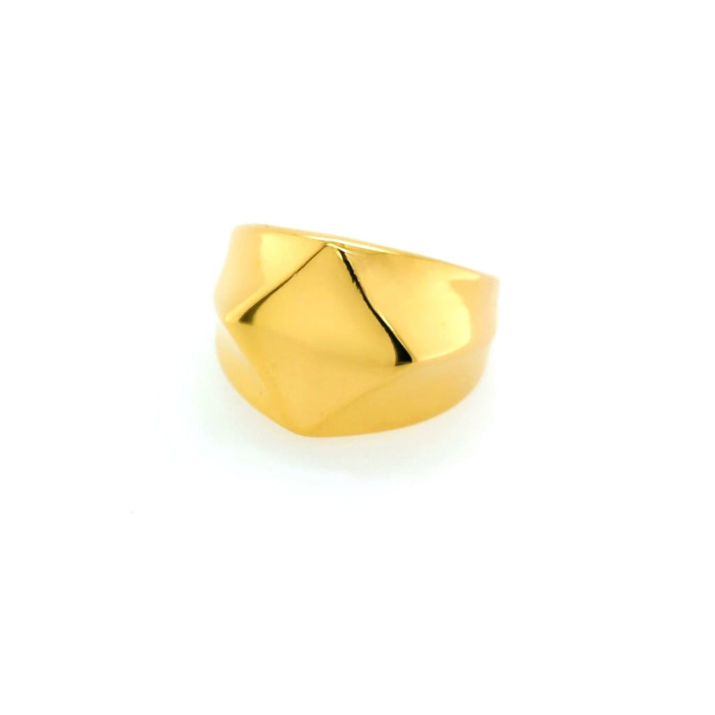 Decima - Abstract Chevalier Ring Stainless Steel Ion Gold Plating