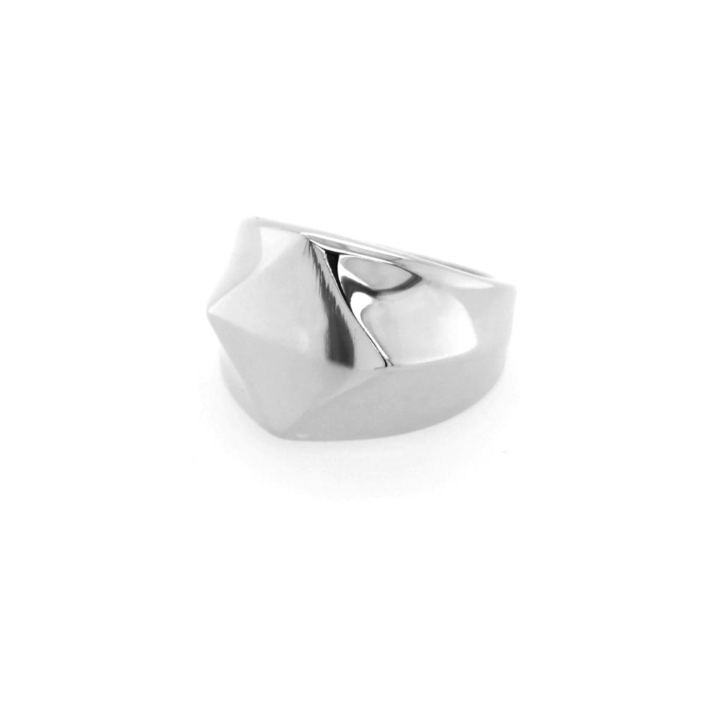 Decima - Abstract Chevalier Ring - Stainless Steel Ion White Plating - Spirito Rosa | Βραβευμένα Κοσμήματα σε Απίστευτες Τιμές