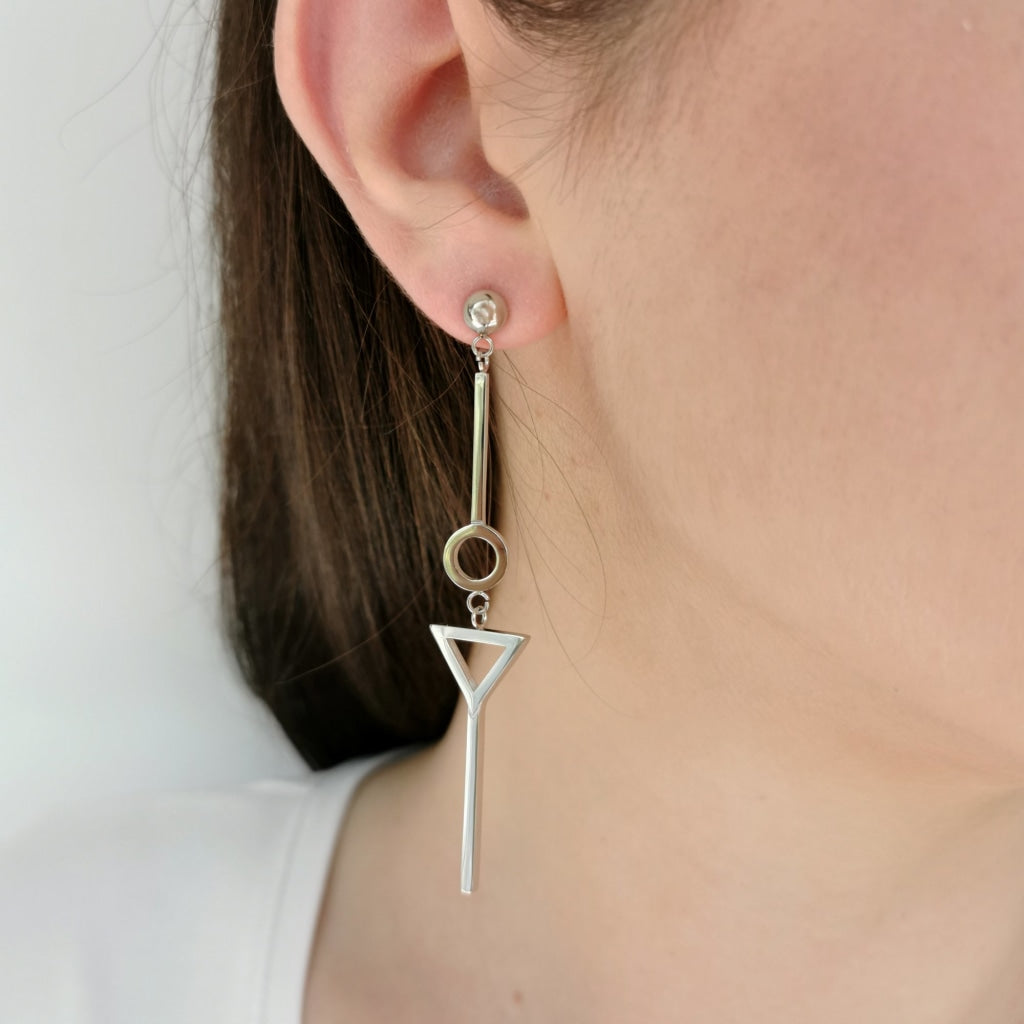 Decima - Geometrical Drop Earrings - Stainless Steel Ion White Plating - Spirito Rosa | Βραβευμένα Κοσμήματα σε Απίστευτες Τιμές