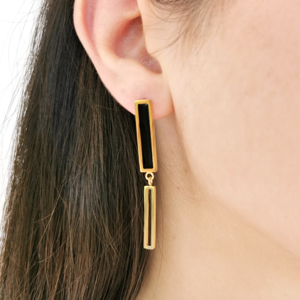 Decima - Linear Earrings Stainless Steel Ion Gold Plating Earring