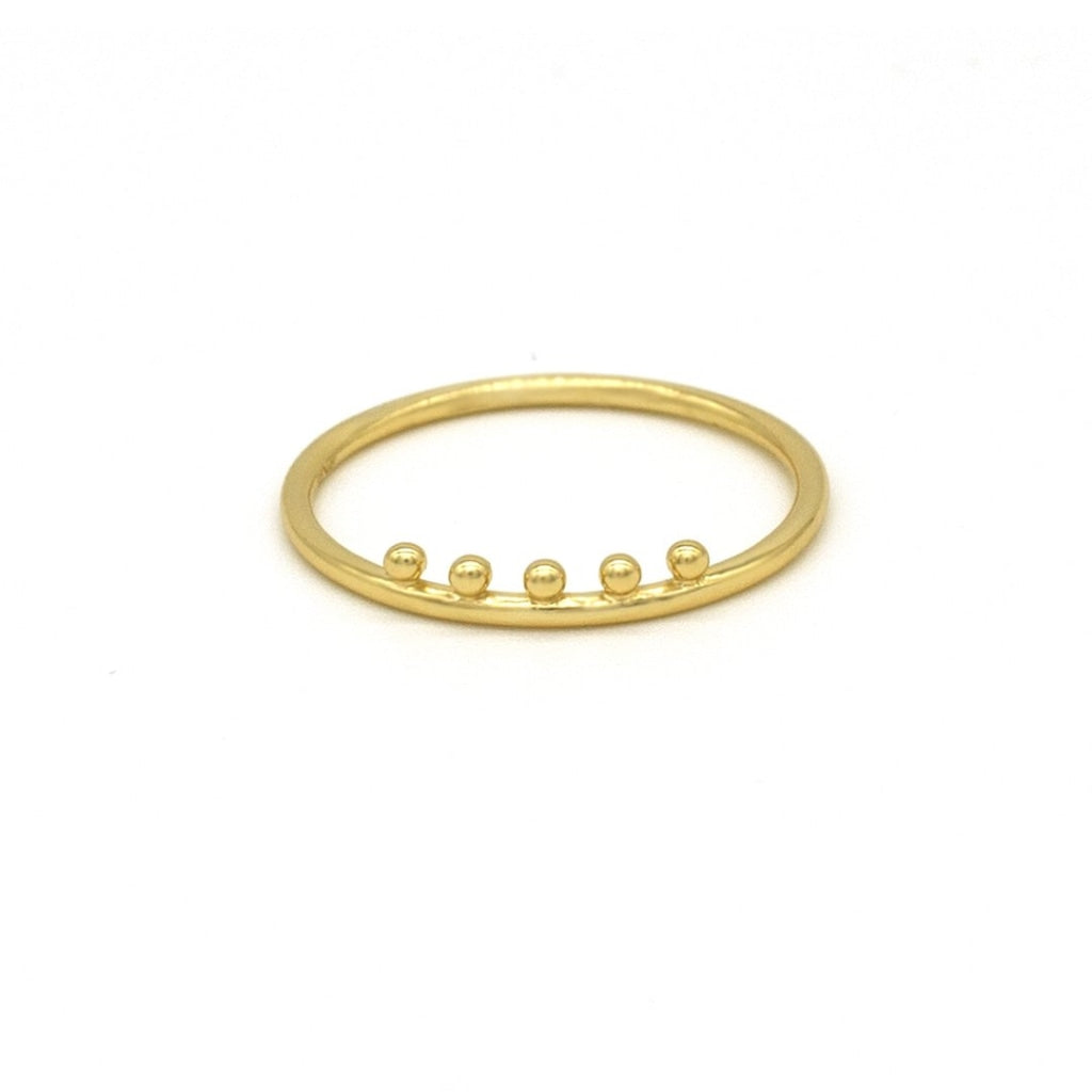 Clementia - Cinque Orb Ring Gold Plated Silver