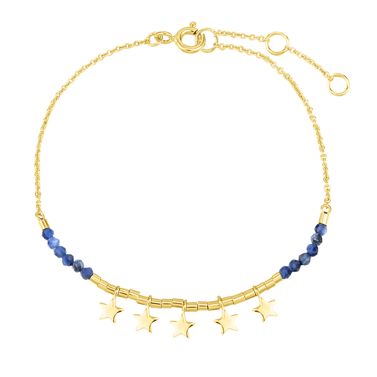Spirito Rosa X Queen Dina Summer | River Bracelet | 925 Silver | Blue-Vein Stone | 14K Gold Plated