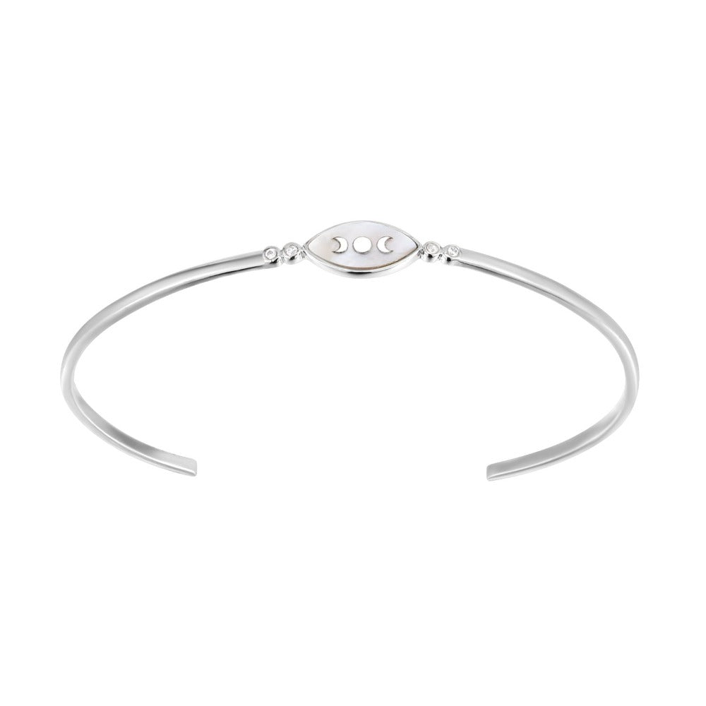 Spirito Rosa x Queen Dina Fall | Rivage Bangle | 925 Silver | White CZ & Mother of Pearl | White Rhodium Plated