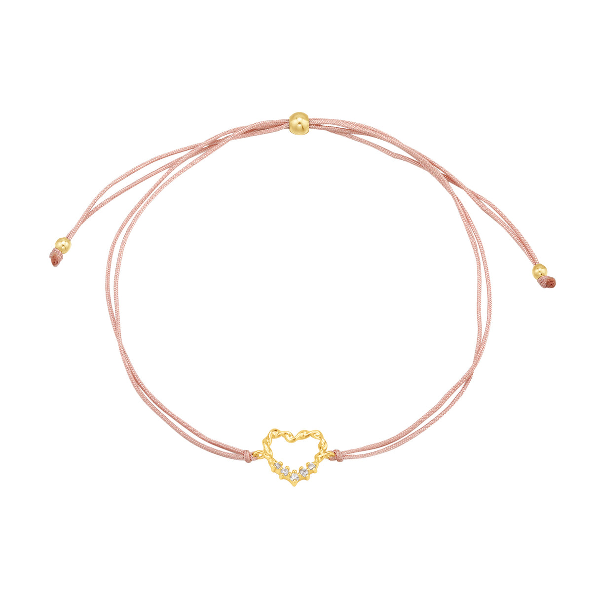 Christmas Selection | Xmas Love Bracelet | White CZ | Beige Thread & 14K Gold Plated 925 Silver